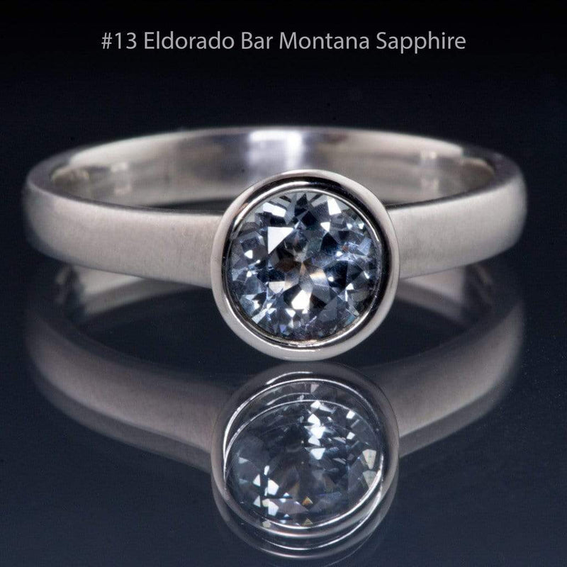 Blue to Green Eldorado Bar Montana Sapphire Peekaboo Bezel Solitaire Engagement Ring