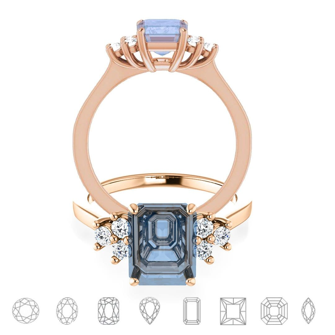 Ellie - Prong Set Accented Side Cluster Engagement Ring - Setting only