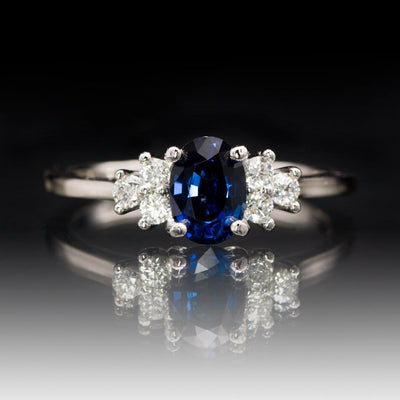 Ellie Ring- Oval Blue Sapphire Prong Set Accented Engagement Ring