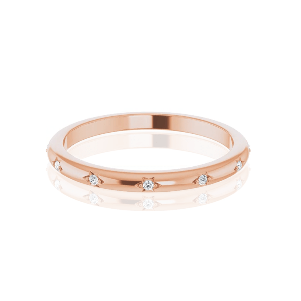 Estrella Band - Narrow Star Set Diamond Eternity Stacking Wedding or Anniversary Ring