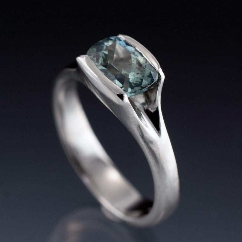 Cushion Fair Trade Teal Sapphire Fold Solitaire Engagement Ring