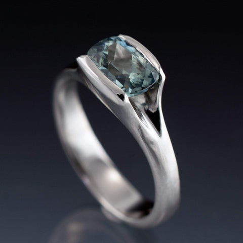 Cushion Fair Trade Teal Sapphire Fold Engagement Ring - by Nodeform