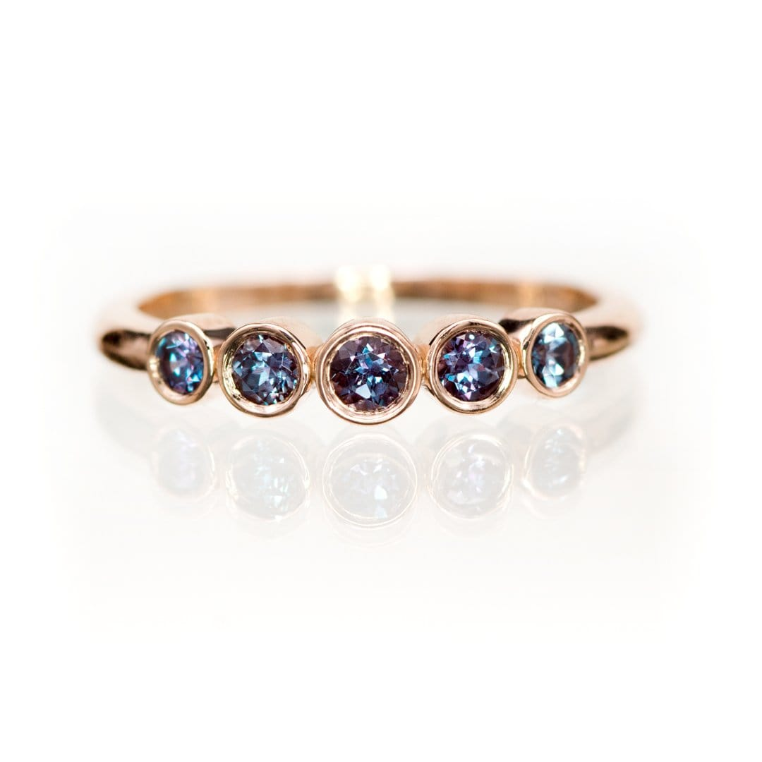 Fiona Band - Graduated Chatham Alexandrite Five Bezel Stacking Anniversary Ring