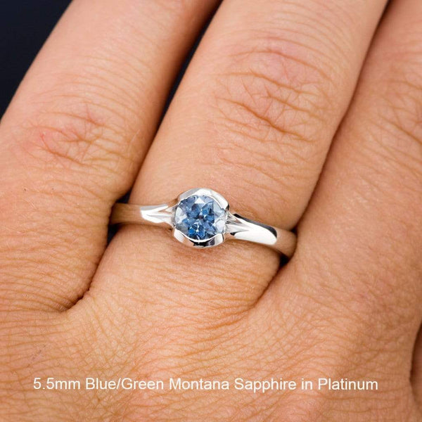 Fair Trade Teal / Blue Montana Sapphire Fold Engagement Ring