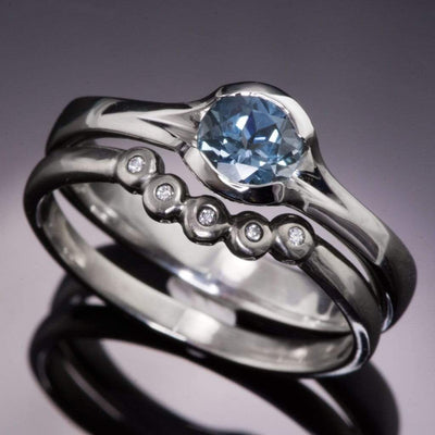Fair Trade Teal / Blue Montana Sapphire Fold Engagement Ring - by Nodeform