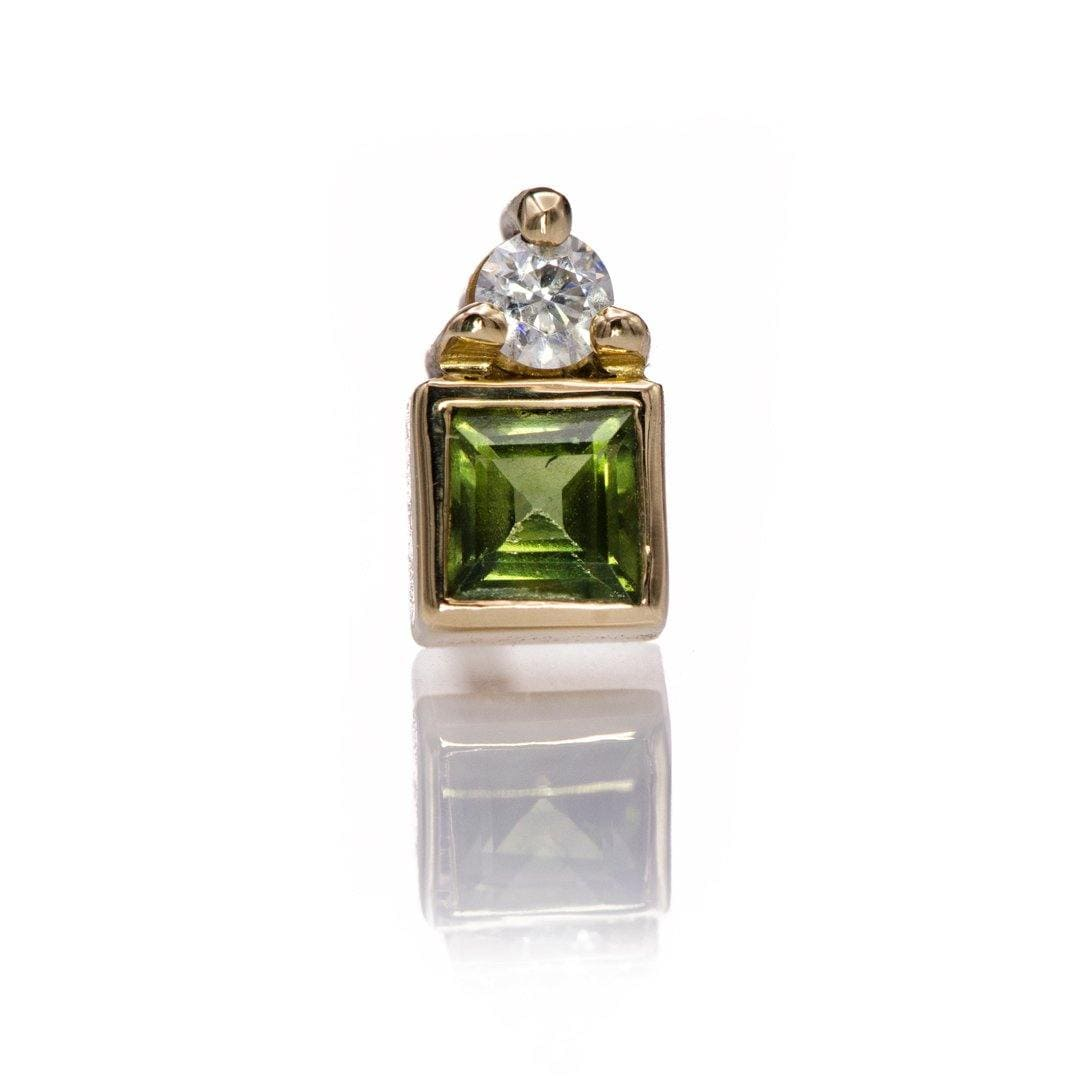 Green Square Sapphire & Moissanite Cluster 14k Yellow Gold Stud Earring (Single), {Ready to Ship}