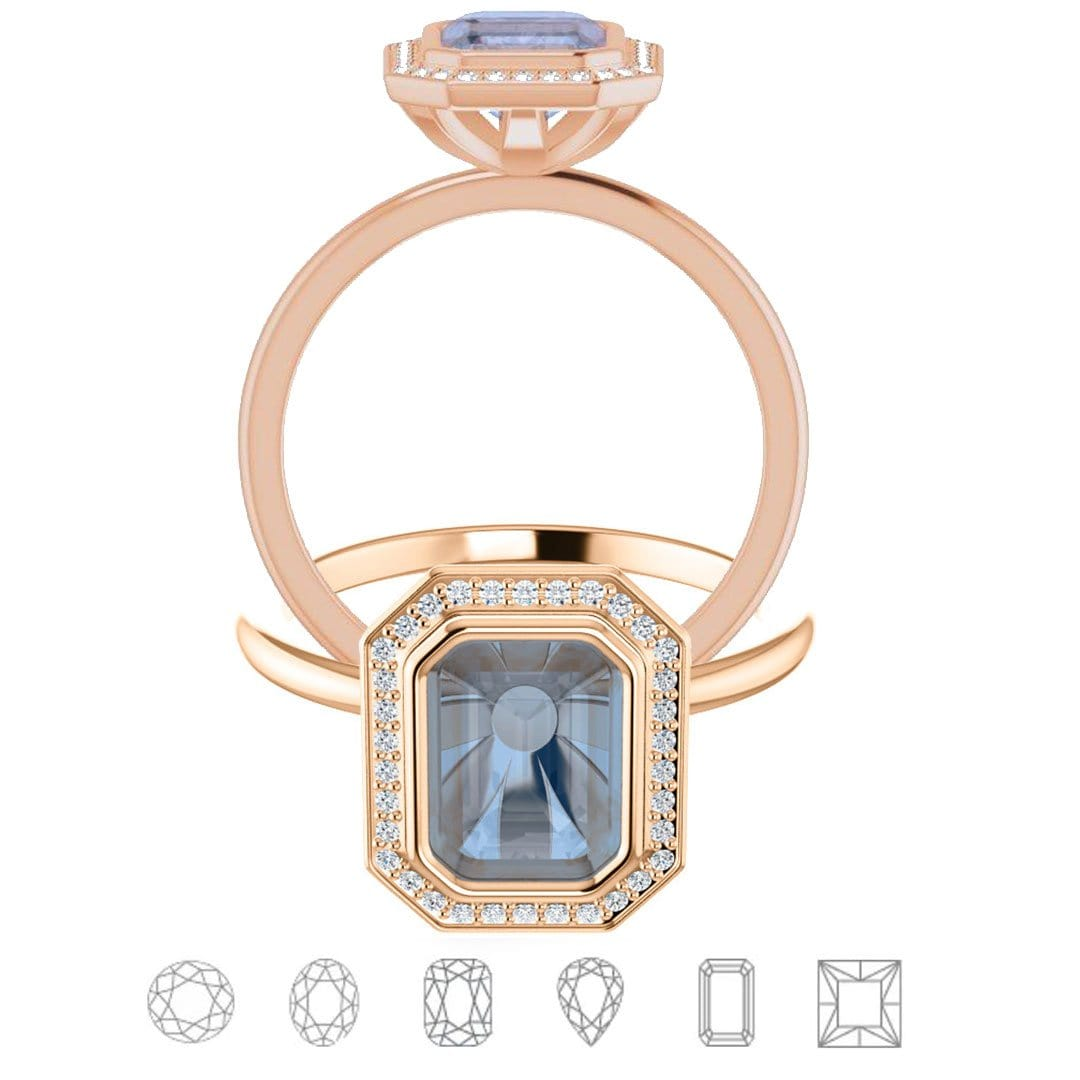 Hale Ring - Bezel Set Engagement Ring with Diamond Halo- Setting only