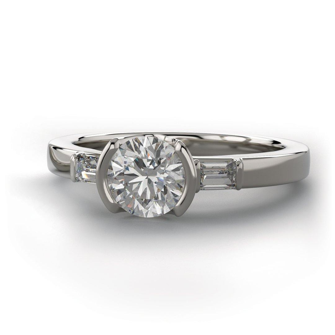 Harper Ring - 1CTW Round Lab Diamond & Baguette Accented Half Bezel Engagement Ring