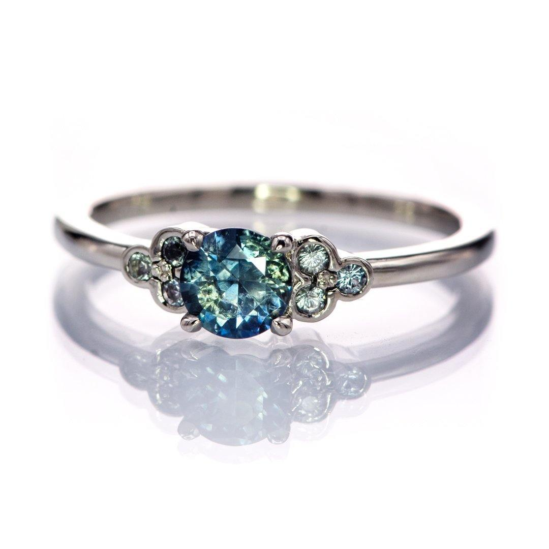 Teal Montana Sapphire Holly Ring - Accented Prong Set 14k white gold Engagement Ring, Ready to ship