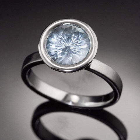 John Dyer Fireball Aquamarine Elevated Bezel Engagement Ring