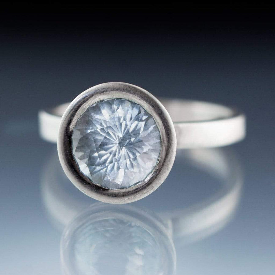 John Dyer Fireball Aquamarine Elevated Bezel Engagement Ring - by Nodeform