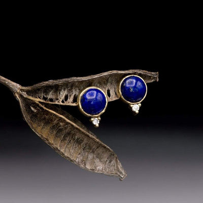 Lapis Cabochon Bezel Stud 14kY Gold Earrings With Moissanite Accents, Ready to Ship