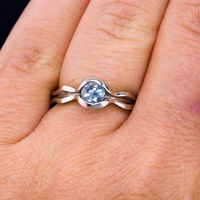 Blue to Green Eldorado Bar Montana Sapphire Wave Solitaire Engagement Ring
