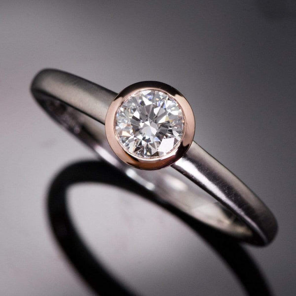Mixed Metal Round Diamond Bezel Engagement Ring