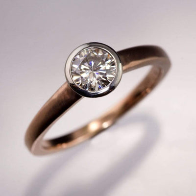 Mixed Metal Round Diamond Bezel Engagement Ring - by Nodeform