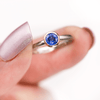 Mixed Metal Bezel Set Ceylon Blue Sapphire Engagement Ring in 14k Rose & White Gold, size 4 to 9