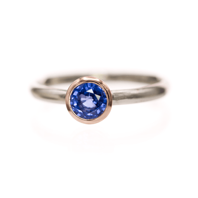 Mixed Metal Bezel Set Ceylon Blue Sapphire Solitaire Engagement Ring in 14k Rose & White Gold, size 4 to 9
