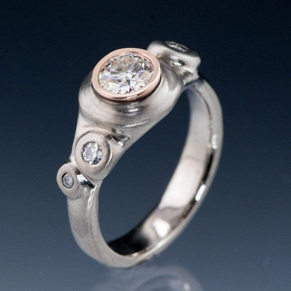 Round Brilliant Moissanite Buds Engagement Ring - by Nodeform