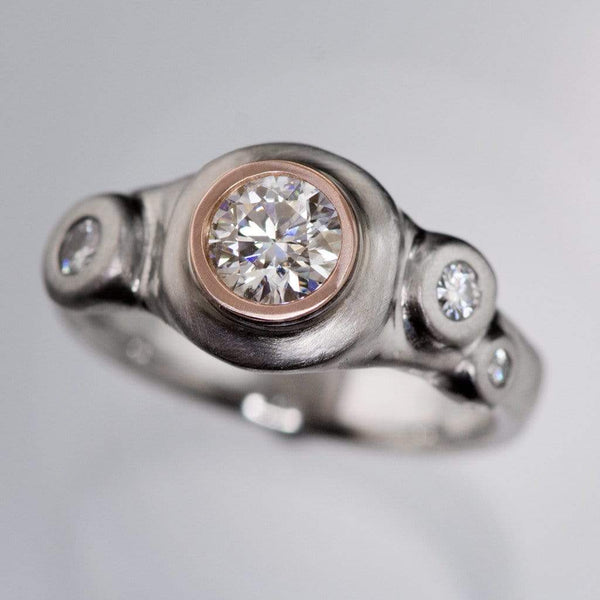 Round Brilliant Moissanite Buds Engagement Ring