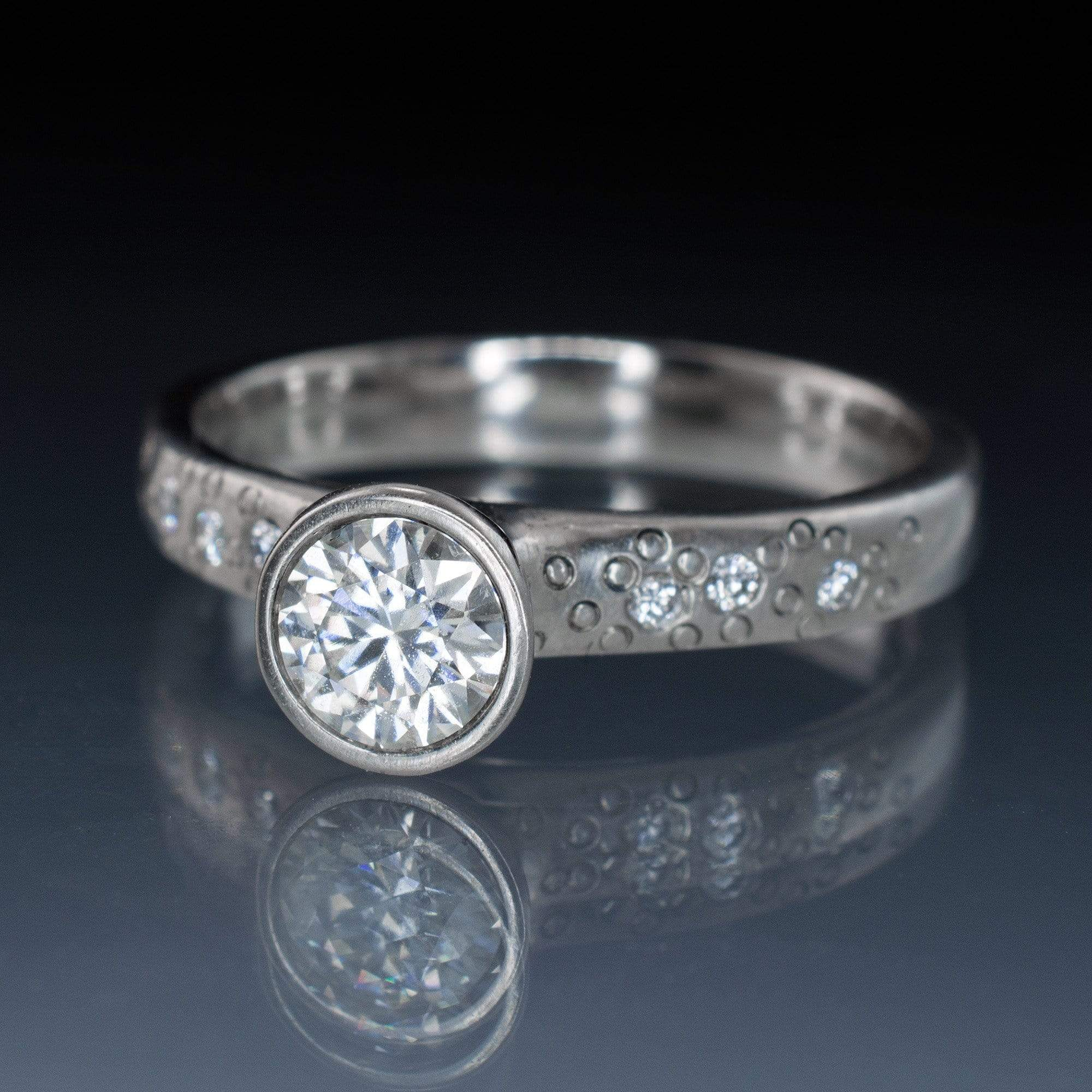 Moissanite Round Full Bezel Set Star Dust Engagement Ring - by Nodeform