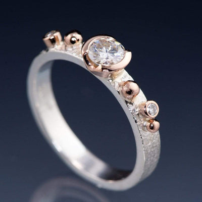 Engagement Ring Round Semi-Bezel Moissanite & Diamonds in Rose Gold Accents - by Nodeform