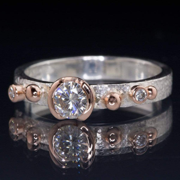 Engagement Ring Round Semi-Bezel Moissanite & Diamonds in Rose Gold Accents