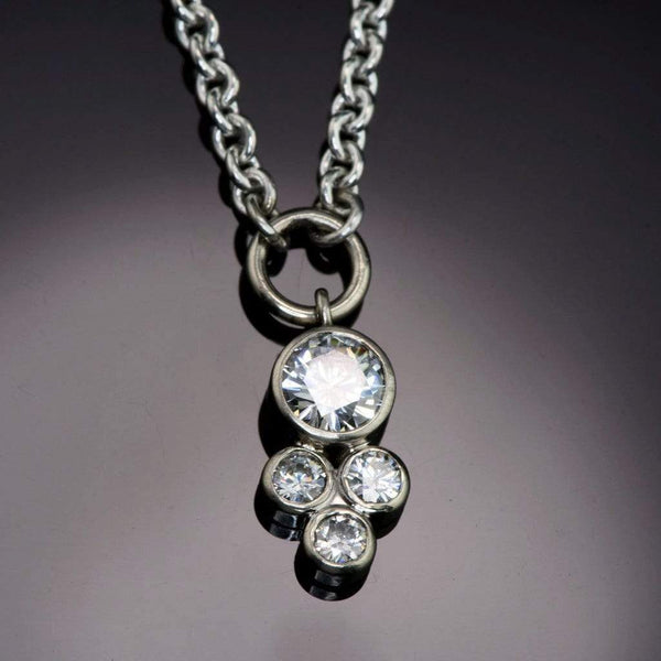 Moissanite Cluster White Gold Bezel Pendant Necklace, Ready To Ship - by Nodeform