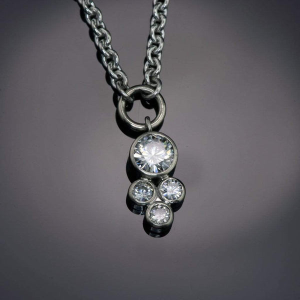 Moissanite Cluster White Gold Bezel Pendant Necklace, Ready To Ship
