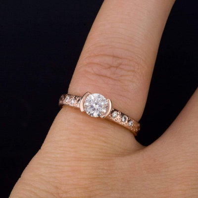 Moissanite Round Half Bezel Diamond Star Dust Engagement Ring - by Nodeform