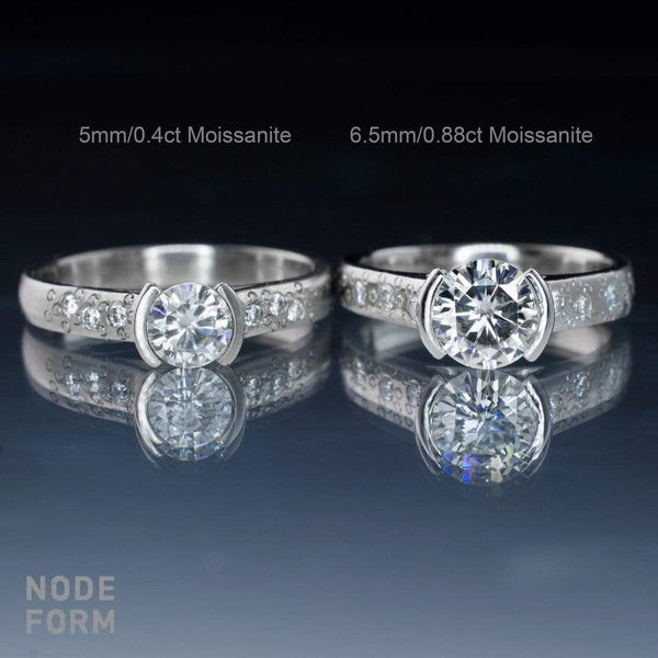 Bridal Set Round Moissanite Half Bezel Star Dust Engagement Ring and Wedding Band - by Nodeform