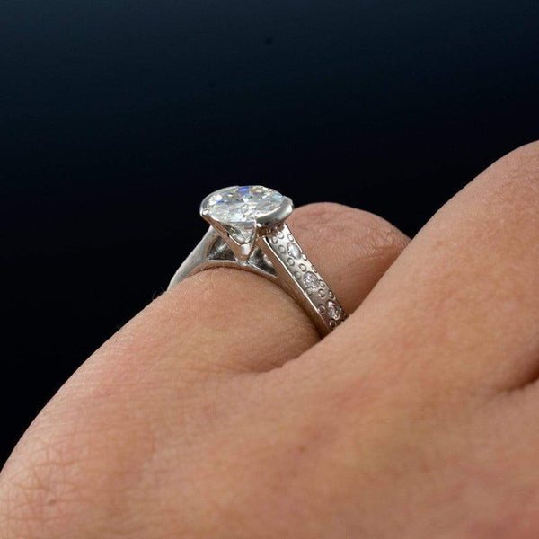 Bridal Set Round Moissanite Half Bezel Star Dust Engagement Ring and Wedding Band