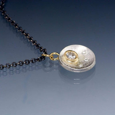 Moissanite Disk Gold Bezel Pendant Necklace, Ready To Ship - by Nodeform