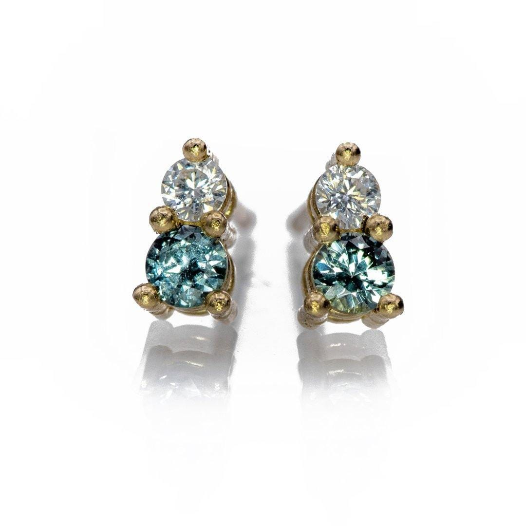 Blue-Green Montana Sapphire & Moissanite 14k yellow gold Stud Earrings, Ready to Ship