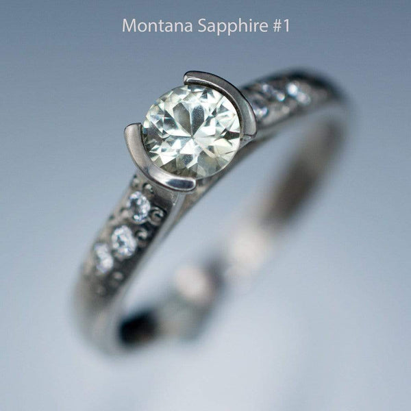 Creamy White to Pastel Green Montana Sapphire Half Bezel Diamond Star Dust Engagement Ring