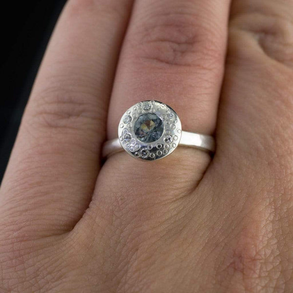 Blue to Green Eldorado Bar Montana Sapphire Halo Star Dust Engagement Ring