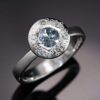 Blue to Green Eldorado Bar Montana Sapphire Halo Star Dust Engagement Ring - by Nodeform