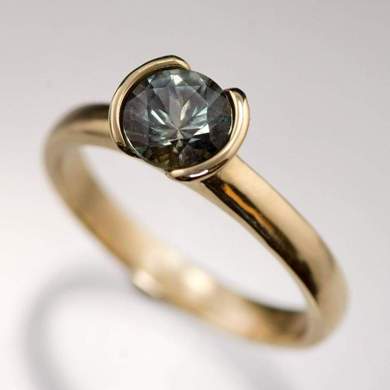 Blue to Green Eldorado Bar Montana Sapphire Half Bezel Solitaire Engagement Ring