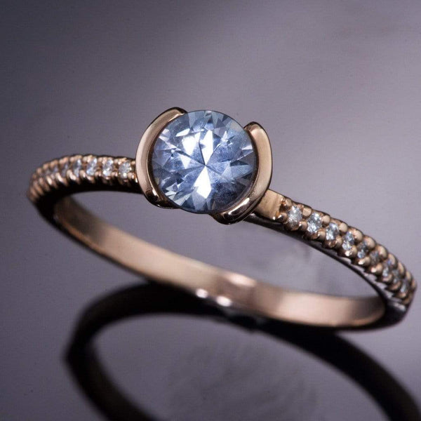 Half Bezel Blue/ Green Eldorado Bar Montana Sapphire Diamond Micro Pave Engagement Ring - by Nodeform