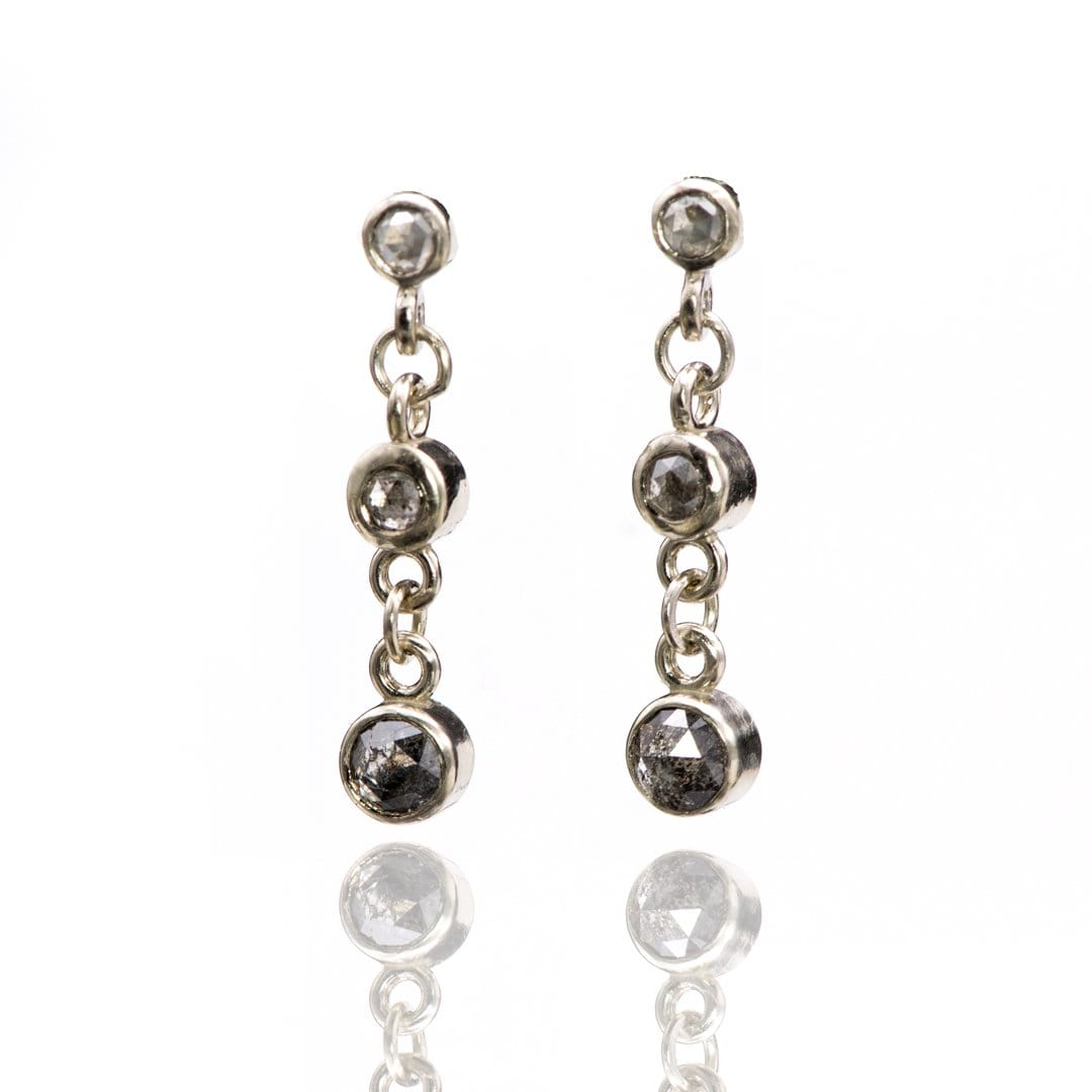 Ombre Dangle Earrings with Salt & Pepper Rose Cut Diamonds in 14k White Gold , Ready to Ship