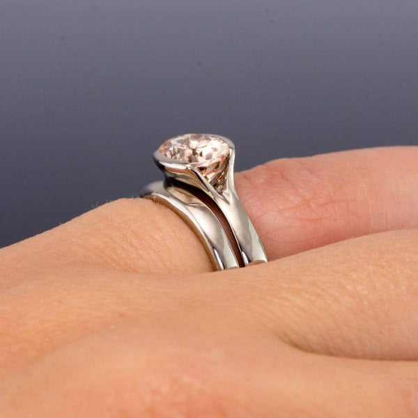 Oval Morganite Fold Solitaire Engagement Ring