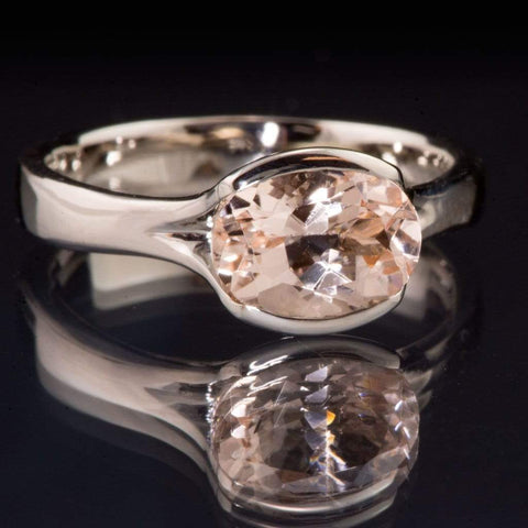 Oval Peach to Pink Morganite Fold Solitaire Engagement Ring - by Nodeform