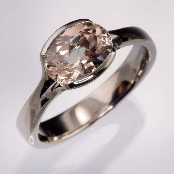Oval Morganite Fold Solitaire Engagement Ring - by Nodeform