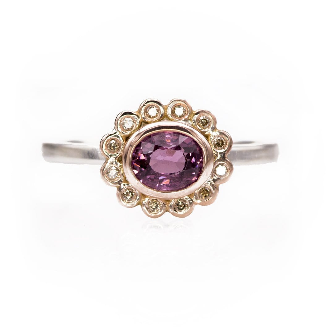 Mixed Metal Oval Purple Spinel & Champagne Diamond Rose Gold Halo & Sterling Silver Ring, size 4 to 9