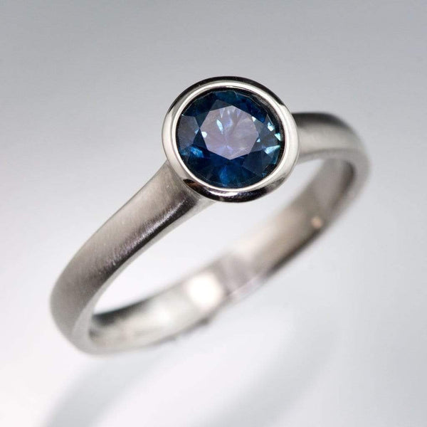 Master Cut Blue Montana Sapphire Peekaboo Bezel Engagement Ring - by Nodeform