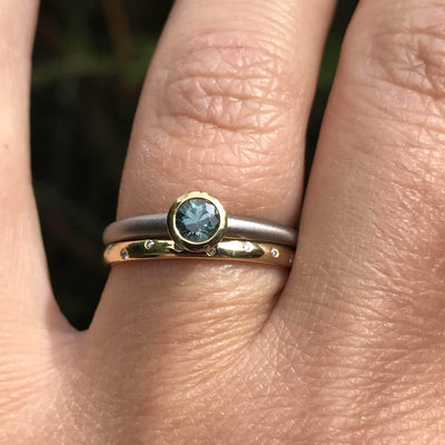 Mixed Metal Blue-Green Round Montana Sapphire Solitaire Engagement Ring, Ready to size 6 to 9