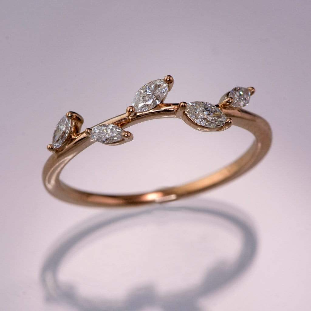 Phyliss Band - Delicate Leaf Ring 1/3CTW Diamond , Ruby or Sapphire Stacking Anniversary Ring