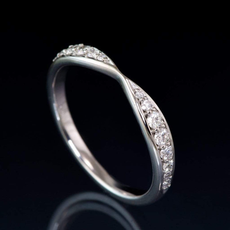 Pippa Band - Pinched Contoured Wedding Ring Graduated Diamond, Moissanite, Ruby or Sapphire