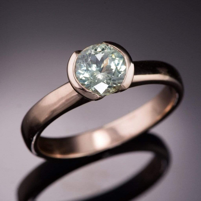 Fair Trade Creamy White to Pale Green Montana Sapphire Half Bezel Solitaire Engagement Ring