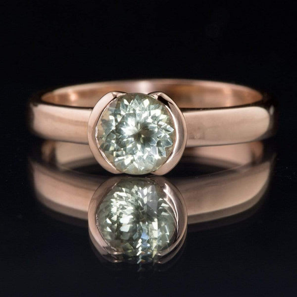 Portuguese Cut Green Montana Sapphire Rose Gold Engagement Ring