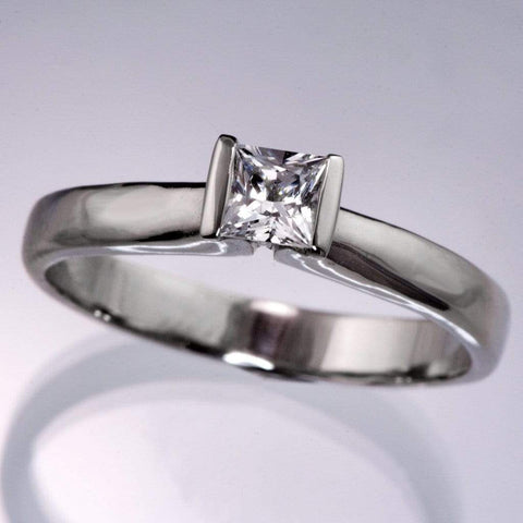 Princess Cut White Sapphire Modified Tension Solitaire Engagement Ring - by Nodeform